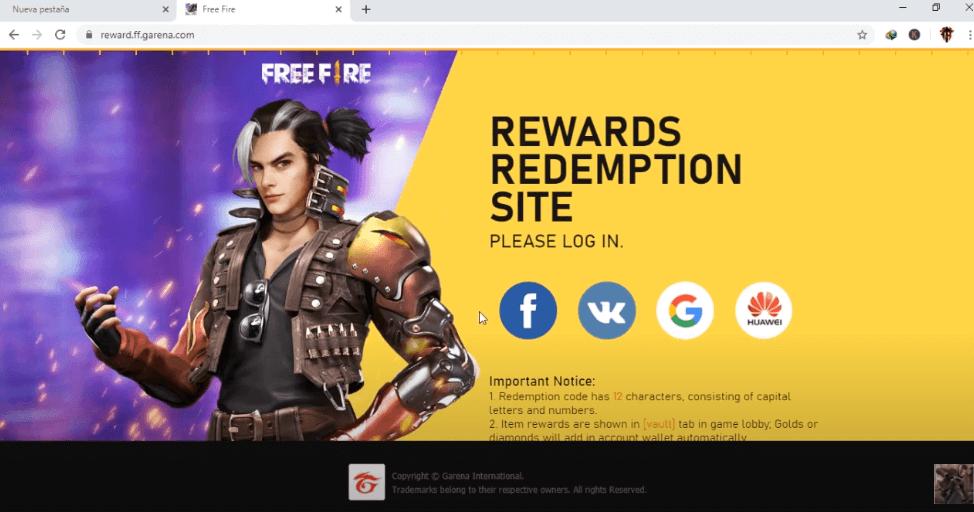 Free Fire Rewards 2020